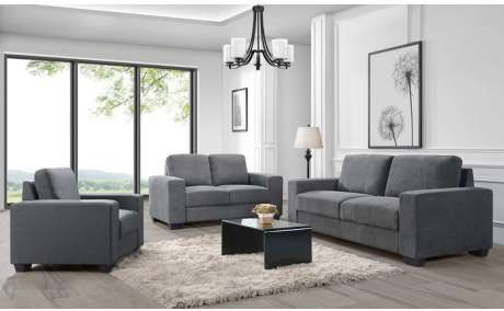 L-style Charlestown Collection 3pc Fabric Sofa Set in Dark Grey J0993